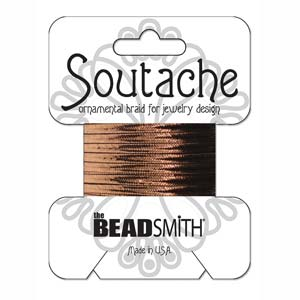3mm Rayon Soutache Cord Bronze Metallic 3 yards