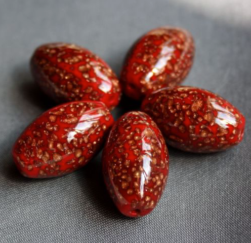 Preciosa Red Glass Beads with Avanturine Pack of 10