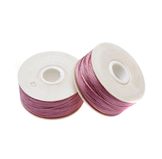 Size B Nymo Beading Thread Heather Pink 2 Bobbins