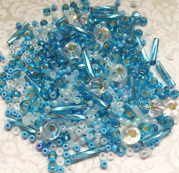 Seed and Bugle Beads Mix Assorted Blue 25 grams
