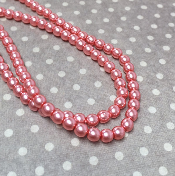 Blush 4mm Round Czech Glass Pearls Strand of 120 beads