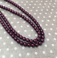 Burgundy 4 mm Round Czech Glass Pearls Strand of 120 beads PRL04-17965