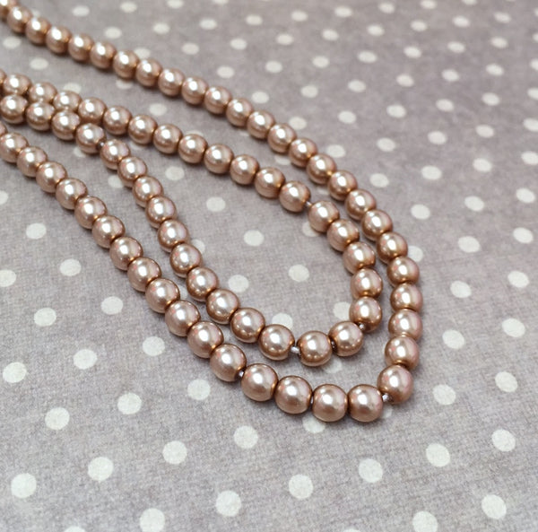 Cocoa 4 mm Round Czech Glass Pearls Strand of 120 beads