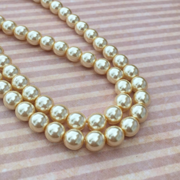 Cream Round Czech Glass Pearls 8 mm Strand of 75 beads