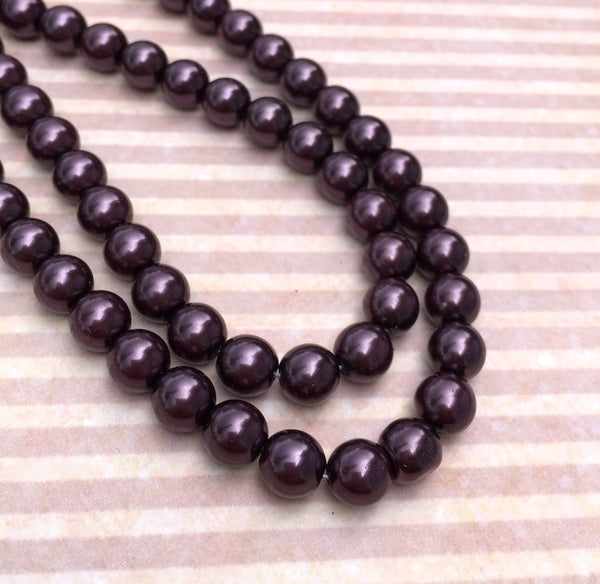 Eggplant Round Czech Glass Pearls 8 mm Strand of 75 beads