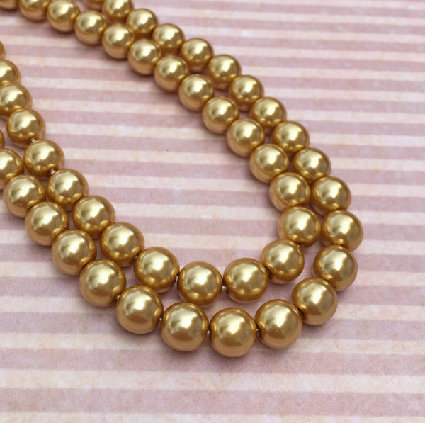 Gold Round Czech Glass Pearls 8 mm Strand of 75 beads