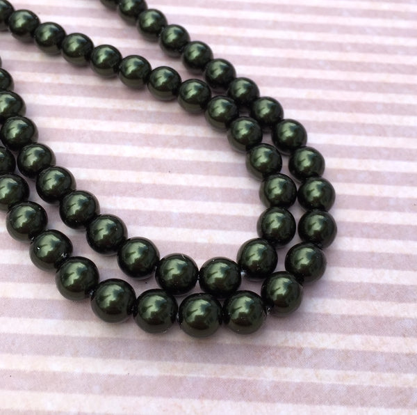 Hunter Green Round Czech Glass Pearls 8 mm Strand of 75 beads