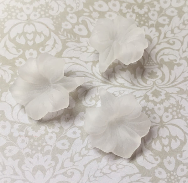 White Frosted Acrylic Flower Lucite Beads Pack of 10