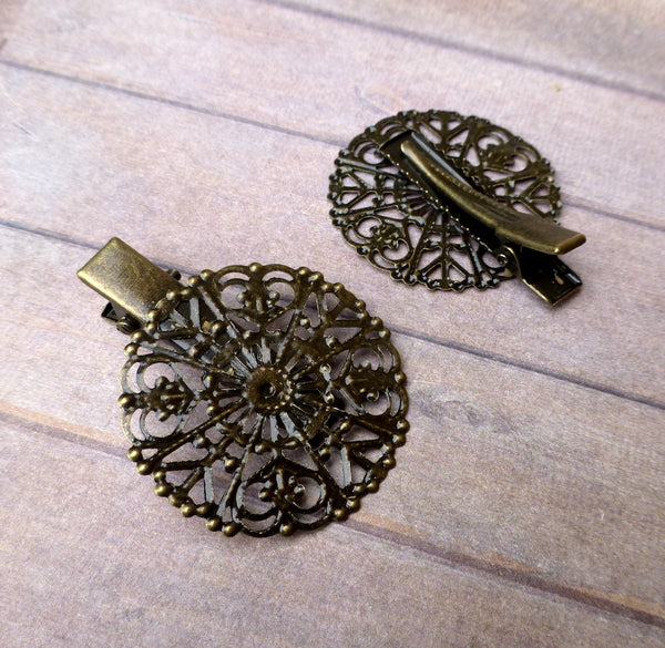Round Filigree Hair Clip Bronze Colour Pack of 4