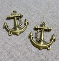Pack of 10 - Antique Bronze Charm Pendant Anchor