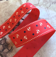 Red Nautical Grosgrain Ribbon with Anchor 3 Meters