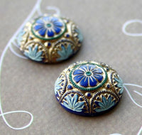 Pack of 2 - Blue and Gold Glass Preciosa Cabochon