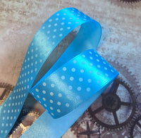 3 meters of 25 mm Satin Ribbon Blue with Spots