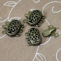 Filigree Box Clasps Antique Bronze Pack of 4 Sets