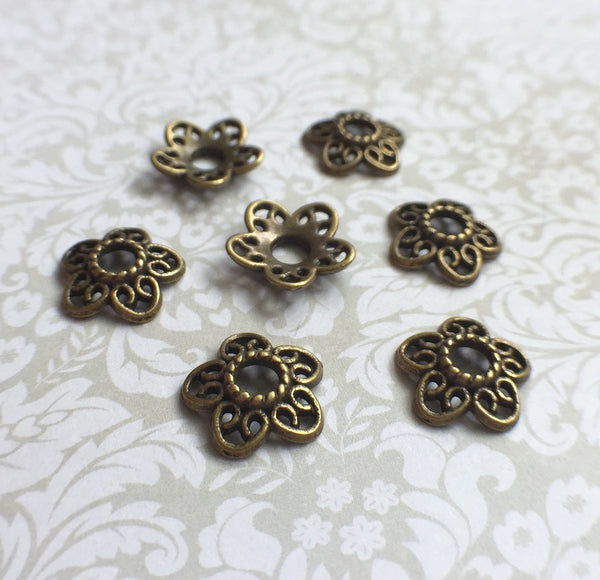Antique Bronze Floral Bead Caps 12 mm Pack of 50
