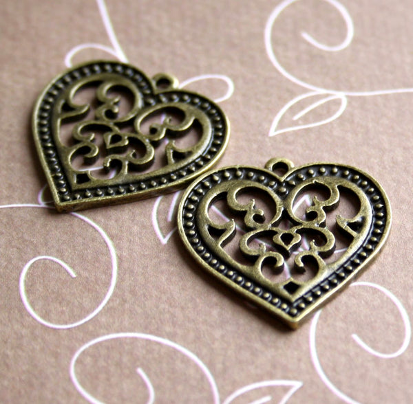Pack of 10 - Antique Bronze Charm Filigree Heart