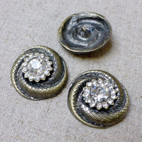 Bronze Decorative Button with Rhinestones Pack of 2
