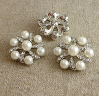 Pack of 2 Rhinestone Faux Pearl Shank Button