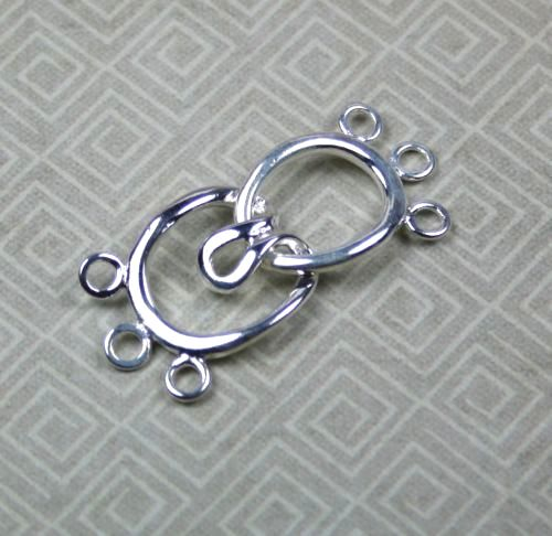 4 Sets - Brass Hook-and-eye 3-strand Clasp Silver Tone