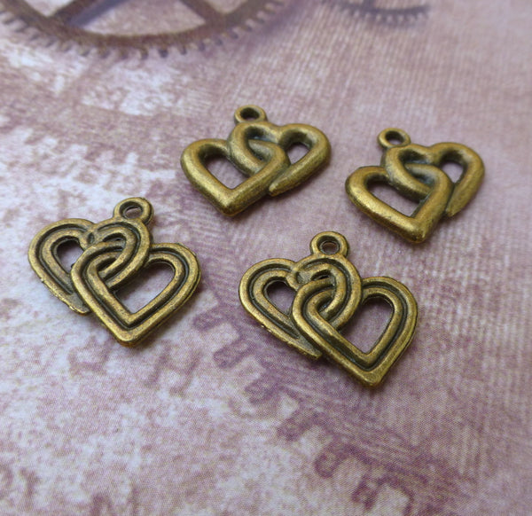 Double Heart Charm Pack of 20