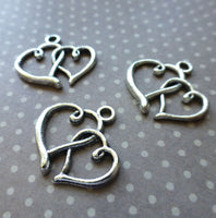 Pack of 20 - Antique Silver Charm Double Heart
