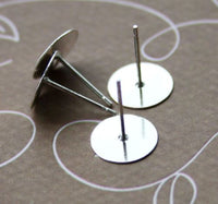 Pack of 20 - Silver Tone Earring Post Flat Pad