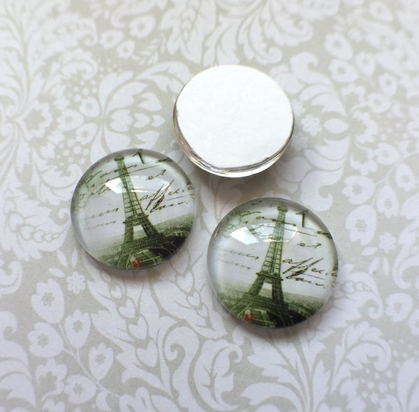 16 mm Glass Cabochon Eiffel Tower Pack of 10