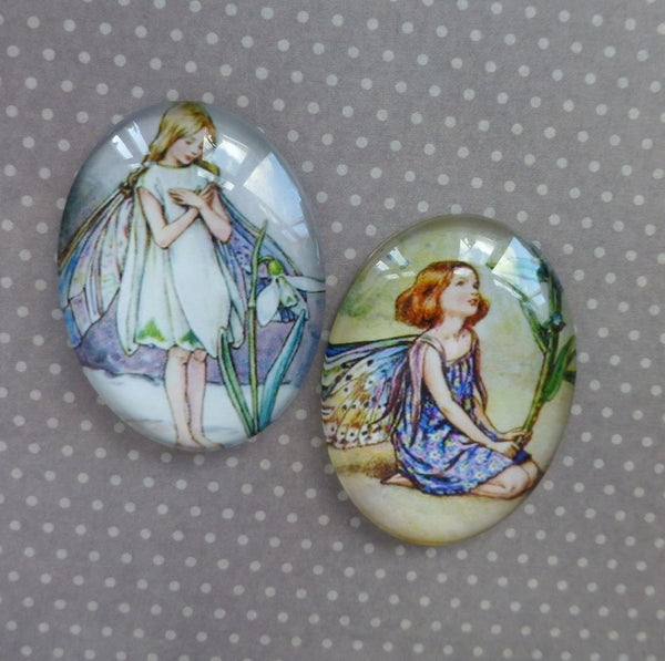 40mm Glass Fairy Cabochons Mix FB05 Pack of 2