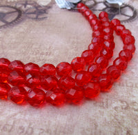 Fire Polished Beads 8mm Cranberry Strand of 19