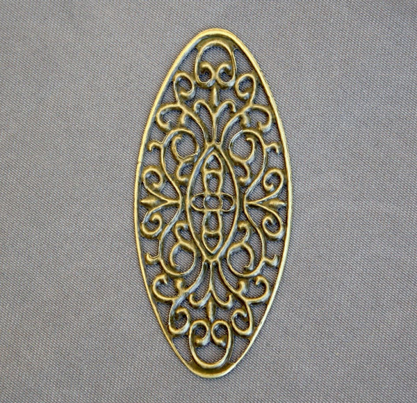 Pack of 20 - Antique Bronze Oval Filigree