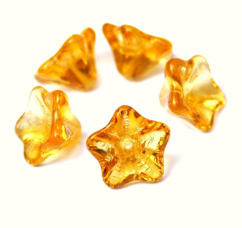 Pack of 20 - Czech Glass Pressed Bead Flower Yellow