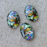 Pack of 10 - Glass Oval Cabochons with Flowers 18x13mm
