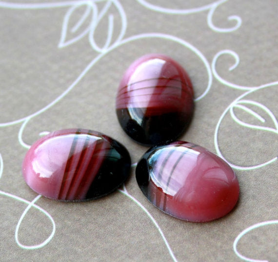 Pink Brown Glass Oval Cabochon Pack of 2