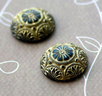 Preciosa Black Cabochon with Gold Wash 18mm Pack of 2