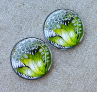 Pack of 4 - Glass 30mm Cabochon Jungle
