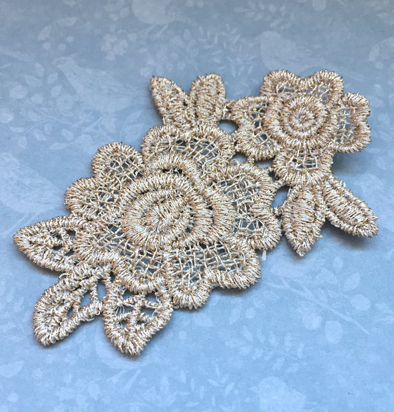 Lace Patch Floral Applique Gold Pack of 2