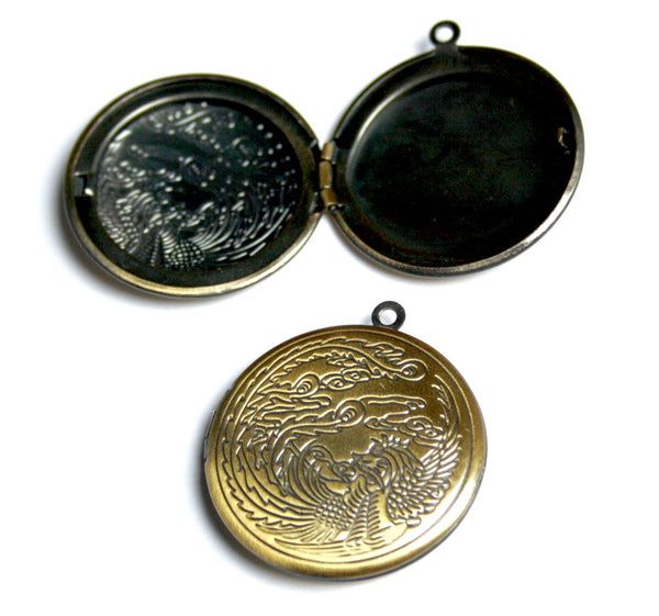 Pack of 2 - Brass Locket with Dragon