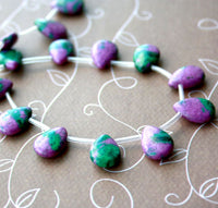One strand - Malachite Ruby Zoisite (Synthetic), Teardrop