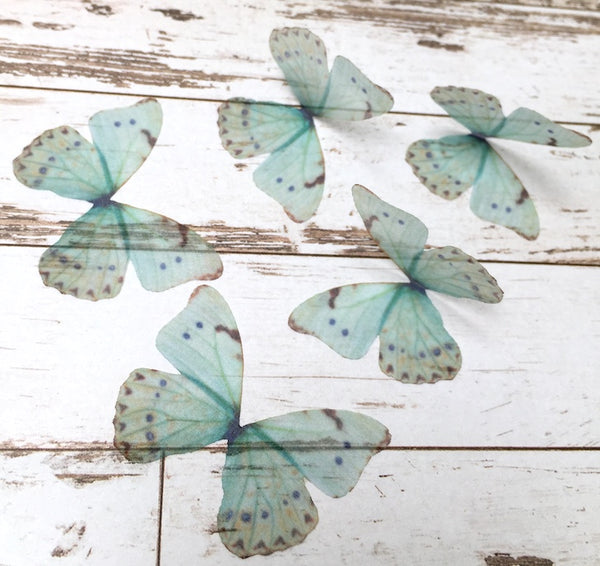 5x Ethereal Organza Teal Butterfly for Millinery or Decoration