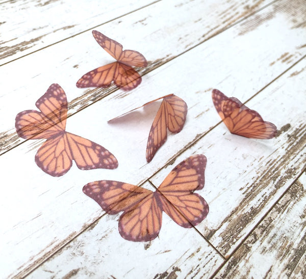 5x Ethereal Organza Orange Butterfly for Millinery or Decoration