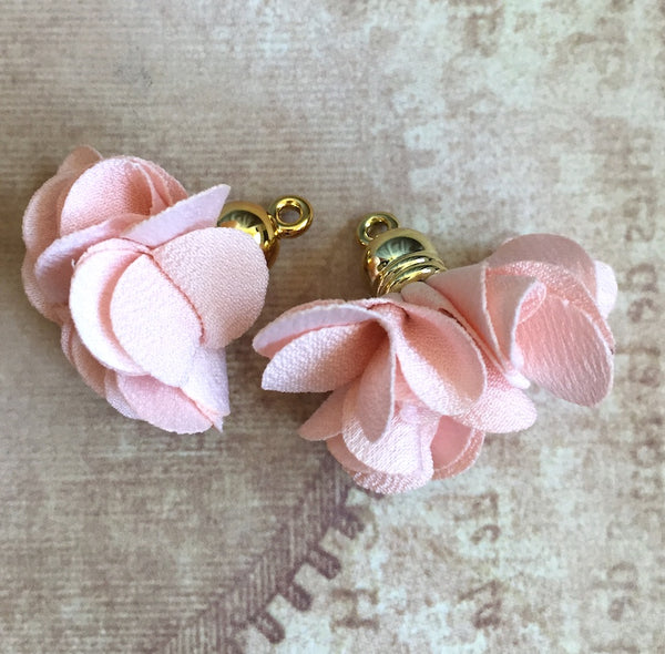 Pink Flower Tassel Pendants Gold Plated Pack of 5