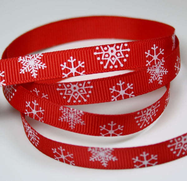 3 meters of 9 mm Grosgrain Red Ribbon with Snowflakes