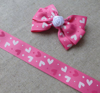 3 Metres of 23mm Pink Grosgrain Ribbon with Hearts