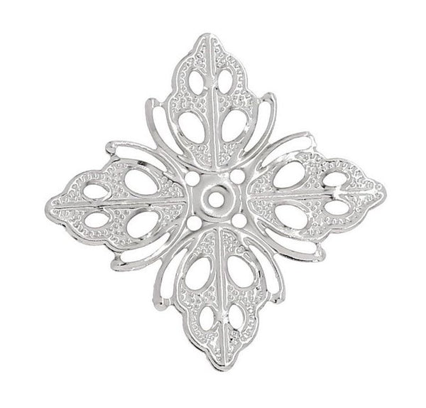 Silver Colour Filigree Component Pack of 10