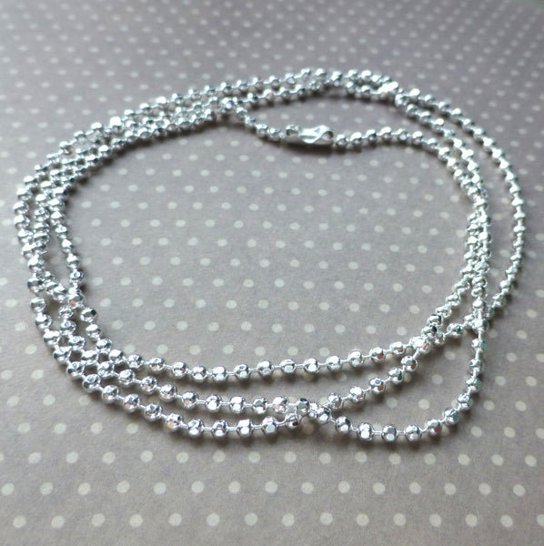 Silver Ball Chain Necklace Pack of 4