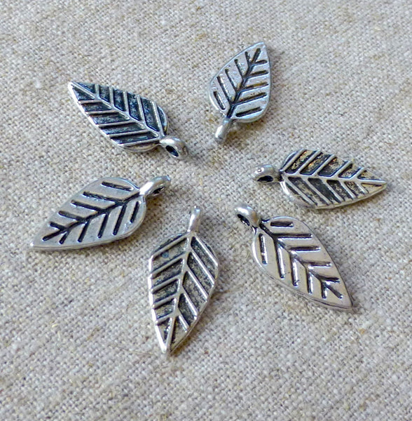 Antique Silver Charm Leaf  Pack of 14