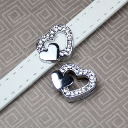 Pack of 5 - Slide Charm Heart with Rhinestones