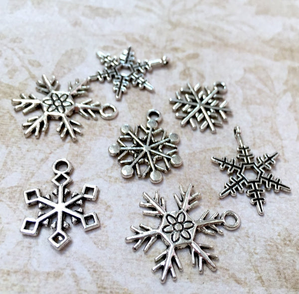 Snowflake Charms Antiqued Silver Mixed Lot of 15