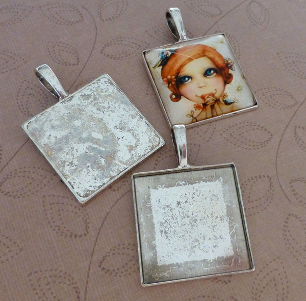 Antique Silver 25mm Square Setting with Bail Pack of 4