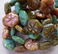 Pack of 10 Exquisite Czech Glass Star Coin Beads, Picasso